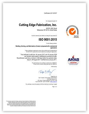 SGS ISO 9001 2015 Certificate